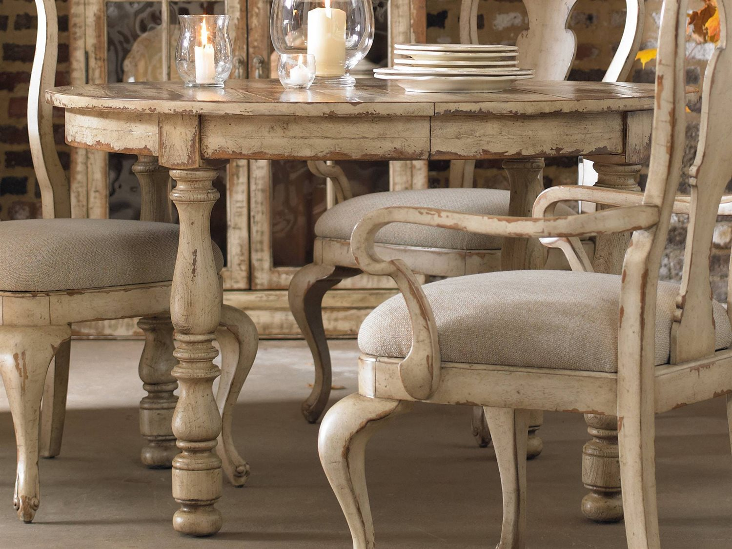 Furniture Wakefield Taupe With Cherry 48 Wide Round Dining Table