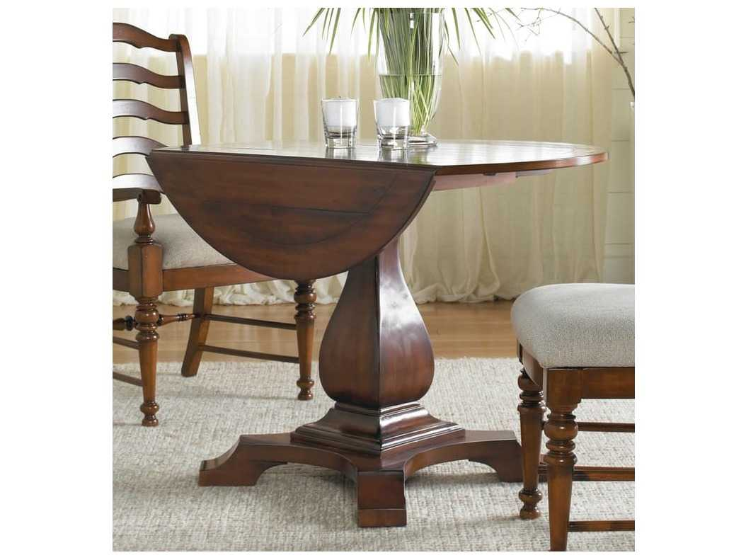 Hooker Furniture Waverly Place Distressed Antique Cherry 42 Wide Round Drop Leaf Pedestal Dining Table Hoo36675218