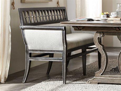 Hooker Furniture Woodlands Smoked Herringbone / Black Banquette Bench