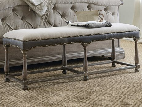Hooker Furniture Woodlands Lenox Taupe / Hopkins Gray Medium Wood Bed Bench