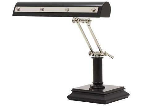 House of Troy Black with Polished Nickel Accents Two-Light Piano Lamp with Rivet Motif HTPR14201BLKPN
