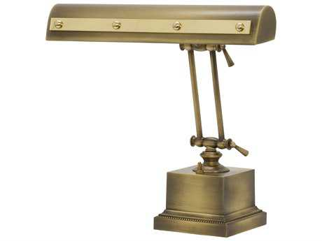 House of Troy Antique Brass with Polished Brass Accents Two-Light Piano Lamp with Rivet Motif HTPR14202ABPB