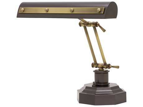 House of Troy Mahogany Bronze with Antique Brass Accents Two-Light Piano Lamp with Rivet Motif HTPR14203MBAB