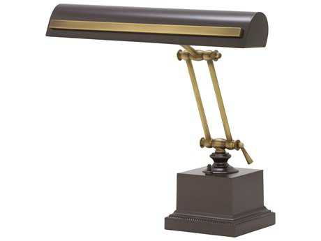 House of Troy Mahogany Bronze with Antique Brass Accents Two-Light Piano Lamp with Strap Motif HTPS14202MBAB