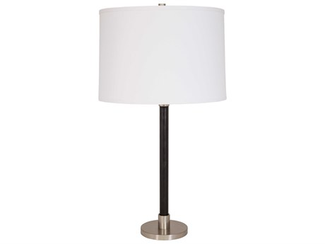 House Of Troy Hardwick Satin Nickel With Black Leather Buffet Lamp