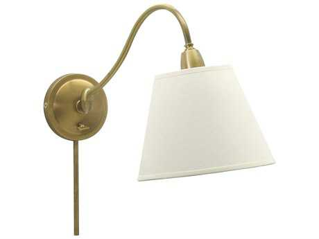 House of Troy Hyde Park Weathered Brass & Off-White Linen Swing Arm Light HTHP725WBWL