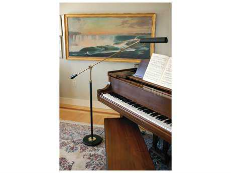 House of Troy Black with Brass Piano Floor Lamp HTPFL617