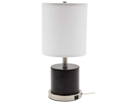 House Of Troy Rupert Black With Satin Nickel Accents Table Lamp HTRU752BLK