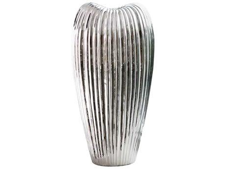 Howard Elliott Ribbed Electroplated Tall Ceramic Vase