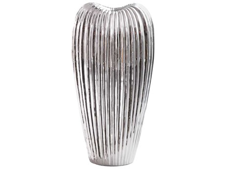 Howard Elliott Ribbed Electroplated Medium Ceramic Vase HE34119