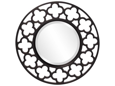 Howard Elliott Gaelic 20'' Round Black Wall Mirror