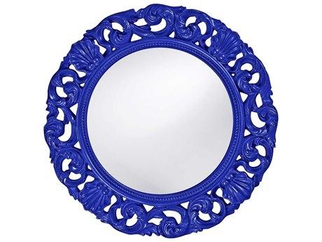 Howard Elliott Glendale 26 Round Royal Blue Wall Mirror
