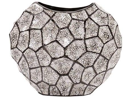 Howard Elliott Black & White Honeycomb Vase Wide HE25122