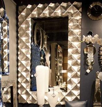 Howard Elliott Krystal 53 x 83 Modern Silver Wall Mirror HE43111