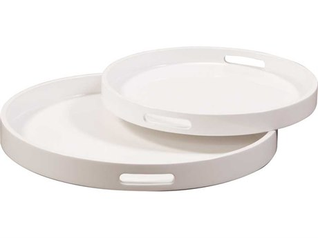 Howard Elliott Glossy White Lacquer Round Wood Tray (Set Of Two) HE83027
