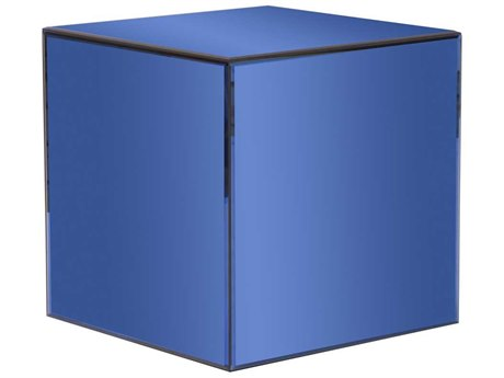 Howard Elliott Mirrored Cube 16'' Square Blue End Table HE48014