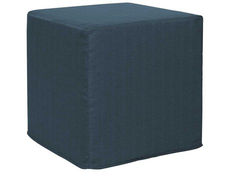 Howard Elliott Sterling Indigo No Tip Block Ottoman
