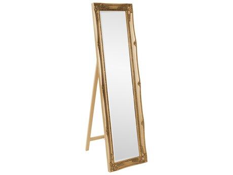 Howard Elliott Queen Ann Standing Antique Gold Floor Mirror