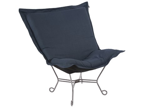 Howard Elliott Scroll Puff Linen Slub Indigo Accent Chair