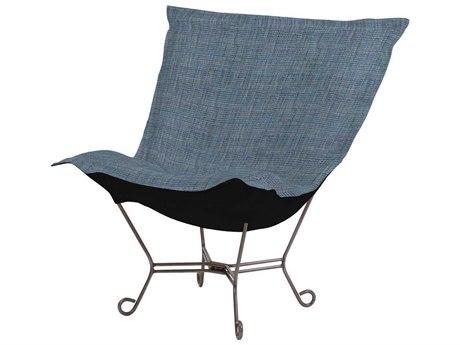 Howard Elliott Coco Sapphire Scroll Puff Chair - Titanium Frame