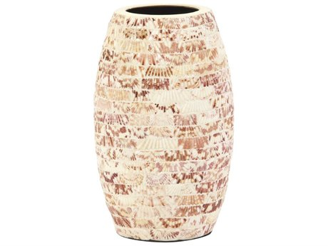 Howard Elliott Cylindrical Ceramic Vase with Natural Seashells Small