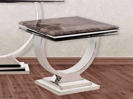 Howard Elliott Stainless Steel And Stone 24.5'' Side Table HE38003