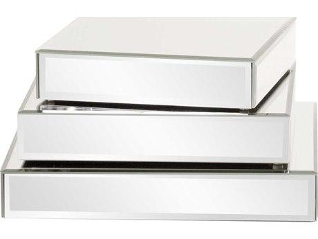 Howard Elliott Mirrored 10 x 10 White Display Piece Mirror Platforms (Set of 3)