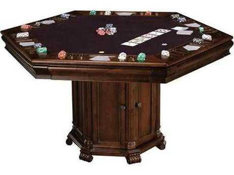 Howard Miller Niagara Rustic Cherry 50''L x 58''W Hexagon Pub & Game Table HOW699013