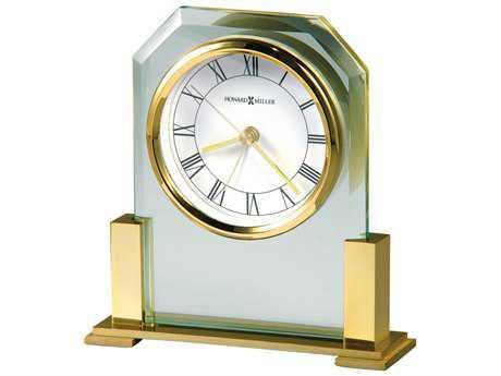 Howard Miller Paramount Polished Brass Glass Alarm Clock