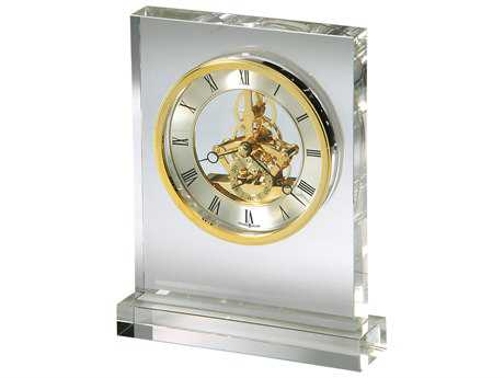 Howard Miller Prestige Polished Brass Crystal Tabletop Clock HOW645682