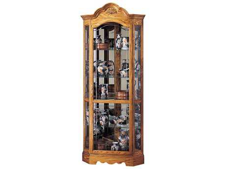 Howard Miller Wilshire Golden Oak Corner Curio Cabinet HOW680207
