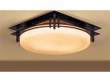 Hubbardton Forge Banded Two-Light Fluorescent Flush Mount Light HBF124394F