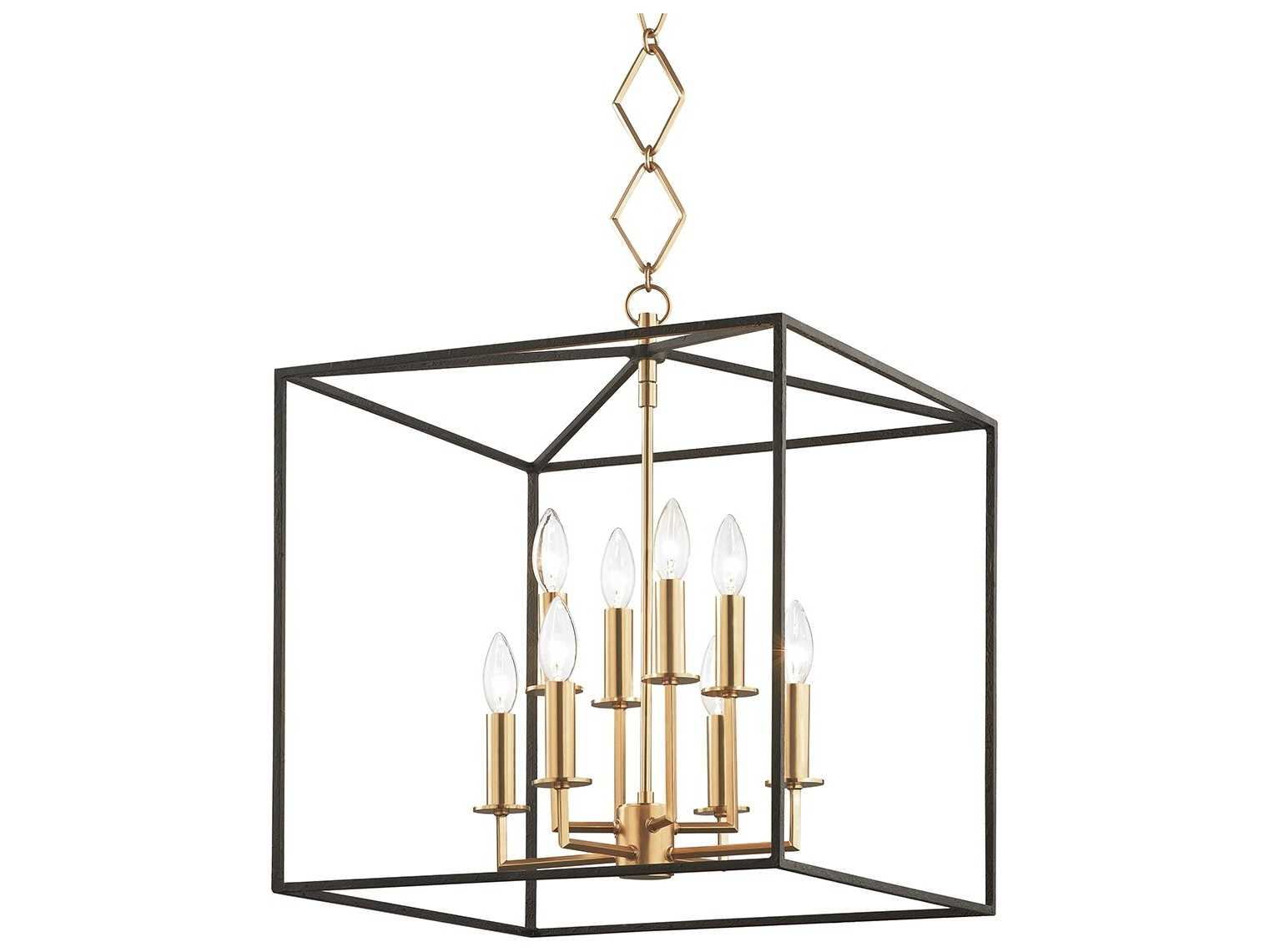 Hudson Valley Lighting Richie Aged Brass Textured Black 8 Light 18 Wide Mini Chandelier Hvbko151agbbk