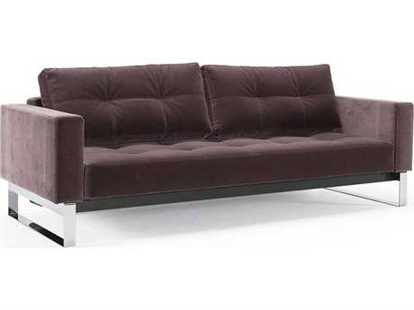 Innovation Cassius Velvet Sofa Bed with Lacquered Oak Legs