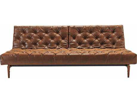 Innovation Oldschool Chesterfield Sofa Bed with Dark Wood Legs