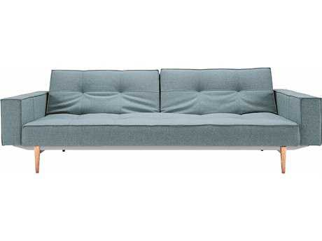 Innovation Splitback Arm Sofa Bed with Light Wood Legs