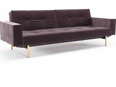 Innovation Splitback Brass Leg Sofa Bed with Arm