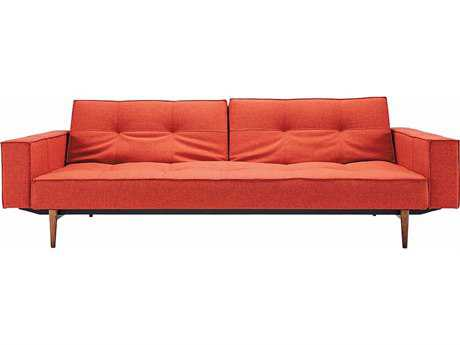 Innovation Splitback Arm Sofa Bed with Dark Wood Legs
