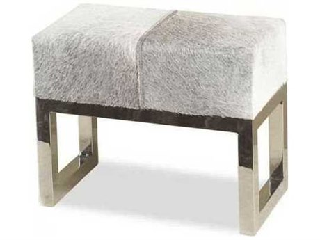 Interlude Home Polished Nickel/ Light Natural Hide Accent Bench