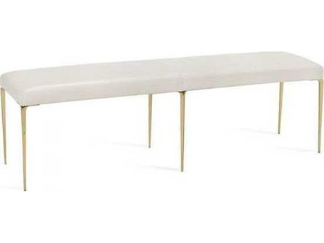 Interlude Home Shiny Brass/ Buff Cream Accent Bench