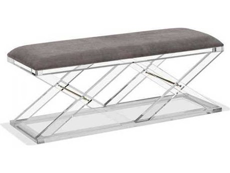 Interlude Home Clear/ Nimbus Grey/ Brass Accent Bench IL179067