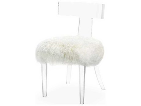 Interlude Home Clear/ Long Curly Ivory Accent Chair IL148006