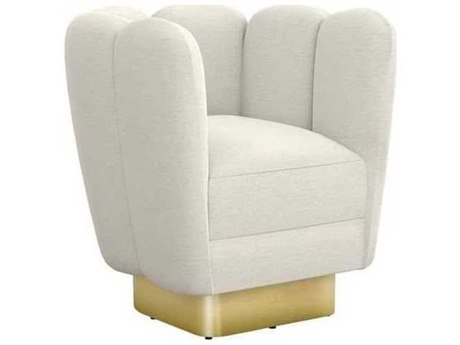 Interlude Home Pearl/ Polished Brass Swivel Accent Chair