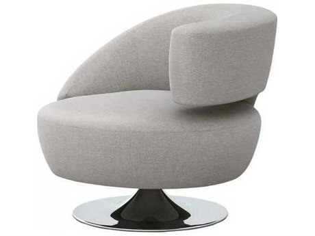 Interlude Home Pure Grey / Polished Nickel Swivel Accent Chair
