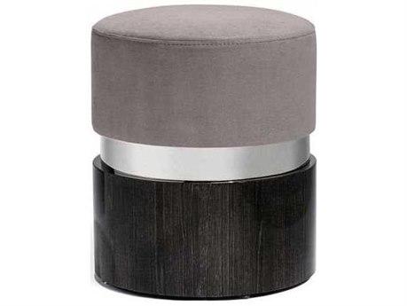 Interlude Home Smoked Grey Oak/ Polished Nickel/ Nimbus Accent Stool IL175161