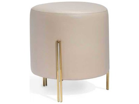 Interlude Home Polished Brass/ Nickel/ Latte Accent Stool IL175163