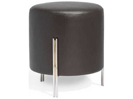 Interlude Home Polished Nickel/ Brass/ Cityscape Grey Accent Stool IL175164