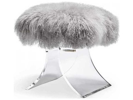 Interlude Home Clear/ Grey Accent Stool IL178070