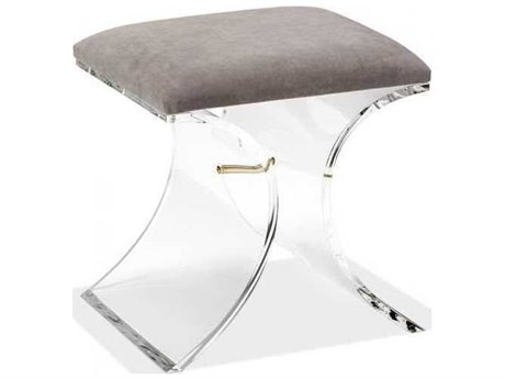 Interlude Home Clear/ Nimbus Grey Accent Stool IL179064