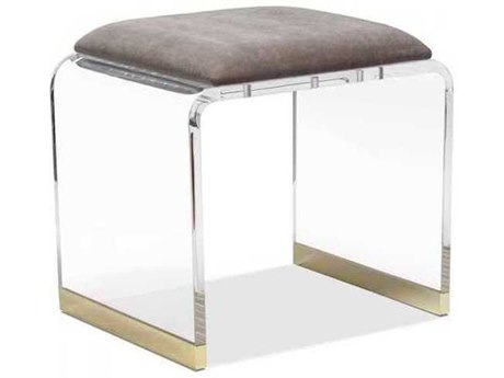 Interlude Home Clear/ Nimbus Grey/ Brass Accent Stool IL179065